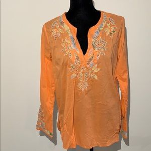 Liz Lange cotton peach tunic beaded appliqué two